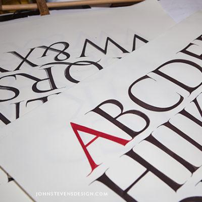 Hand-lettered, brush-Roman Alphabet, Original Artwork