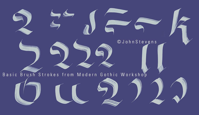 Calligraphic Brush strokes for class by John Stevens
