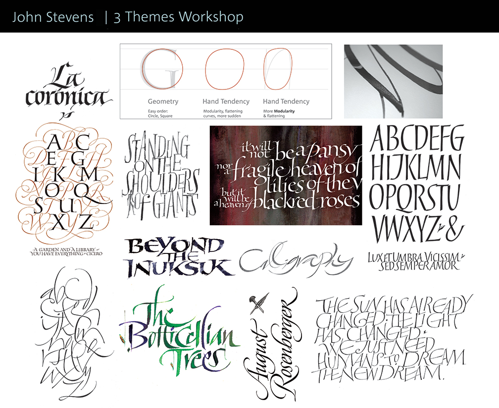 Calligraphic Brush strokes for class by John Stevens