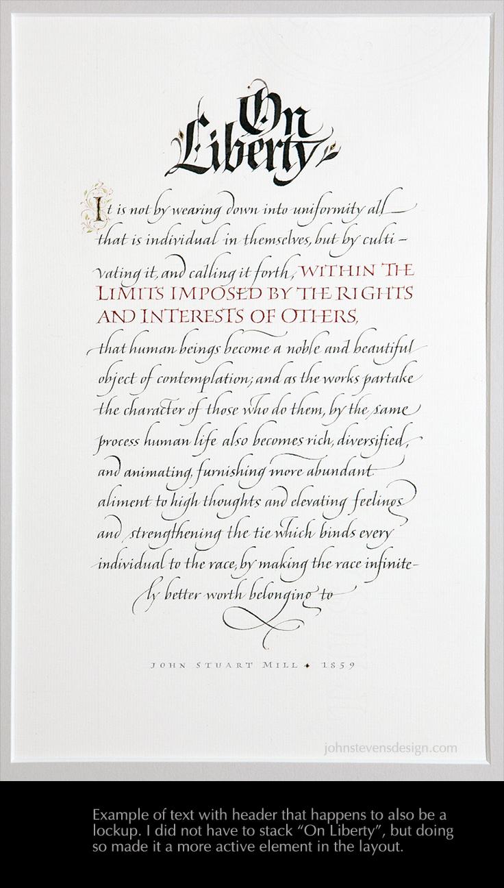 On Liberty John Stevens Calligraphy